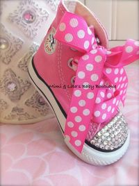 5d405df14d5e Posts similar to  PINK BLING CONVERSE High tops with Swarovski by ...
