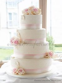Ivory and Pink Rose Wedding Cake by Cakes And Favours