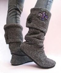 Up-cycle an old sweater into a pair of boots