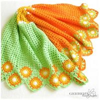 Chevron Crochet Baby Blanket Ripple Afghan for boys or girls - Granny Square - white yellow orange green MADE TO ORDER