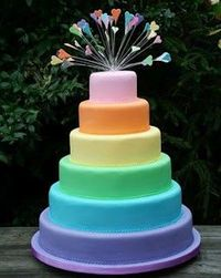 10 Amazing Rainbow Cakes: Simple but statement-making, the gorgeous design is complete with rainbow-hued toppers.
