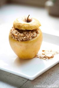 Golden Baked Apple with Sweet & Tangy Rolled Oats Stuffing
