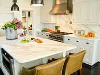 marble backsplash leather barstools