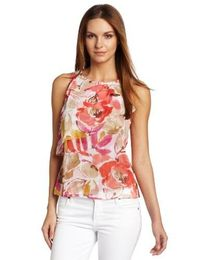 Chaus Women's Tossed Bouquet Asymmetric Tiered Blouse