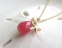 Pretty tiny starfish, pink gem and pearl necklace, so sweet!