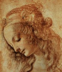 Da Vinci. Delicate sketch of a Woman's Head.