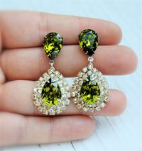 Olive and Champagne, Bridal Earrings, One of Kind, Vintage, Rhinestone Earrings, Duchess Pear Earrings. // fit for a queen!