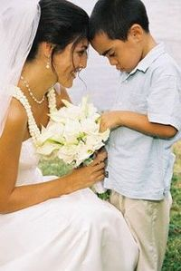 Hawaii Wedding Photo of Bride with Ring Bearer at Secret Island Oahu Hawaii