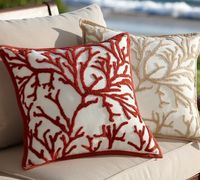 Branch coral embroidered pillows