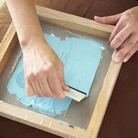Screen printing with Modge Podge - how clever - the screen chemicals are so expensive.