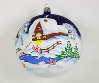 This vintage style Christmas ball ornament is 4.53'' (115mm) in diameter and made of hand blown glass. It has a snowy Russian village house. It is hand painted by a skilled artist and will be a beautiful addition to your Christmas orna...