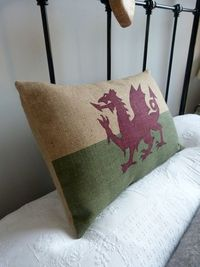 Hand printed heritage Welsh flag cushion cover. $76.00, via Etsy.