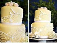 i like this yellow cake and the lace effect. i maybe wouldn't actually want yellow, but this is cute