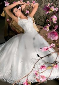 A-Line V-Neck Floor Length Attached Satin/ Tulle Embroidery Wedding Dress Style 9696