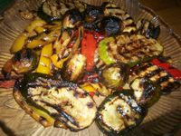 Grilled Vegetable Antipasto: Grilled eggplant, zucchini and peppers with garlic and oil