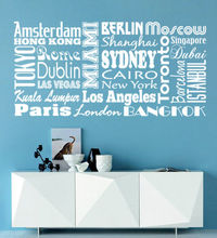 World Cities, wall decal for home decoration