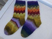 Entrelac socks with Noro yarn