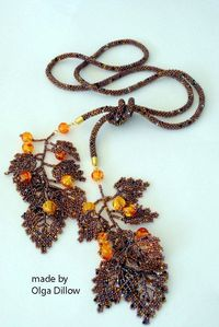 Olga Dillow. Autumn Lariat Necklace Bead Crochet with Russian Leaves.