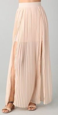 double slit pleated maxi skirt. / womens apparel - Juxtapost