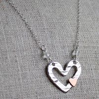 Floating Heart with Copper Teeny Heart Necklace