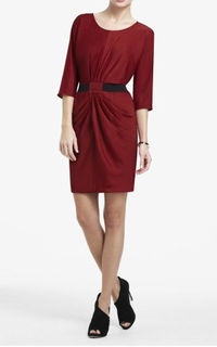 2012 BCBG Max Azria Iselin Draped-Skirt Satin Dress On Sale
