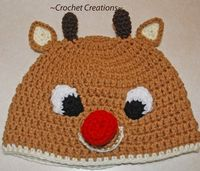 Crochet Creative Creations- Free Patterns and Instructions: Crochet Rudolph Reindeer Child Hat