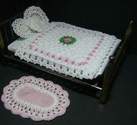 Miniature Dollhouse Bedspread and rug