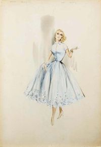 Illustration of actress and Princess of Monaco, Grace Kelly (1929-1982), wearing a dress designed by Edith Head (1897-1981)