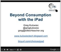 The purpose of the presentation was to explore the iPad as more than a single user consumption device and instead exploring how the ipad can become a multi-media creation device.