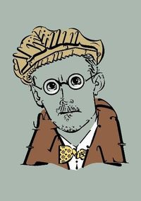 "James Joyce, figured from letters, punctuation characters and numerals ""Typoeten"" by the german artist Raalf Mauer"