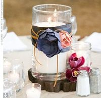 I like this general look for table centerpieces...wrap hurrican with navy ribbon and somehow add some plum color!