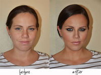 shape face with bronzer under lip and on side of nose, use highlighter on top of nose and top of cheekbones