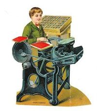 The Printer. Vintage Paper Doll of a little boy printer.