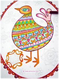 Coloring a page from my new Folk Art Birds Coloring Book! http://www.art-is-fun.com/bird-coloring-pages.html $8