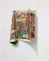 Oil painting of comic book by Sharon Moody