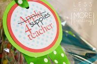 Supplies in a crate with a free printable tag! Cute gift for teacher!