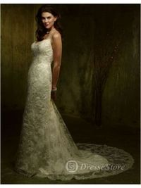 V-neck Lace Chapel Train A-line Wedding Dress(AUSTVNECK0097)
