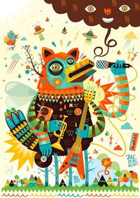 Crazy illustration! Great colors, pattern and style